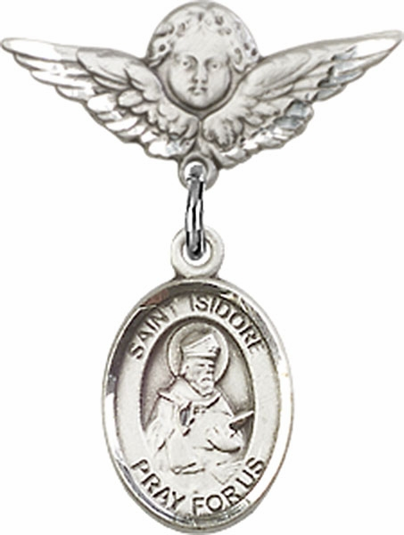 Polished Angel Wings Pin Baby Badge with St Isidore of Seville Charm