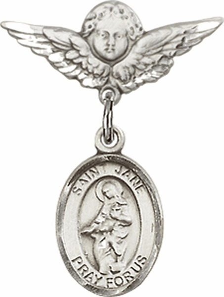Polished Angel Wings Pin Baby Badge with St Jane of Valois Charm