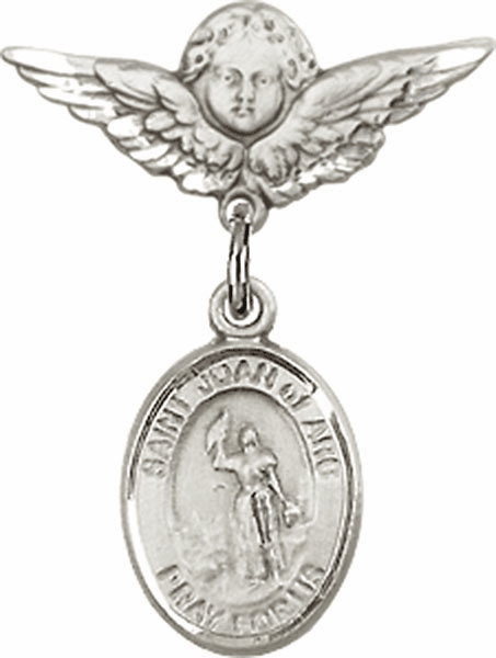 Polished Angel Wings Pin Baby Badge with St Joan of Arc Charm