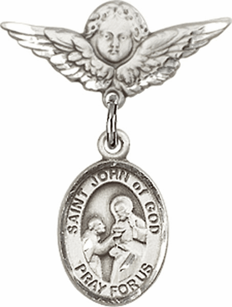 Polished Angel Wings Pin Baby Badge with St John of God Charm