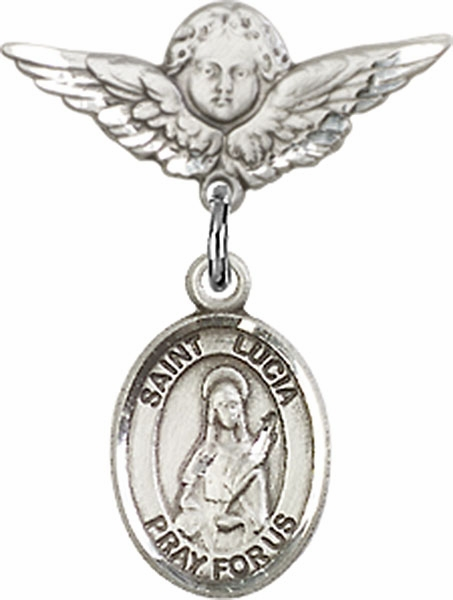 Polished Angel Wings Pin Baby Badge with St Lucia of Syracuse Charm