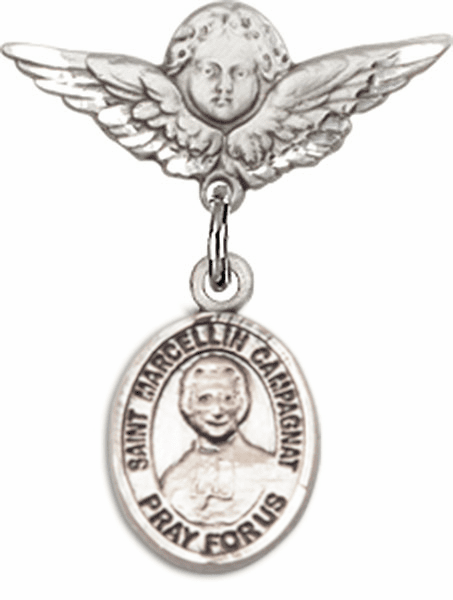 Bliss Polished Angel Wings Pin Baby Badge w/ St Marcellin Champagnat Charm