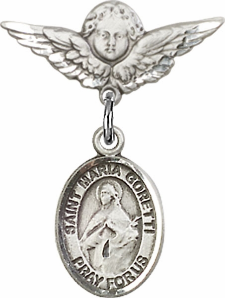 Bliss Polished Angel Wings Pin Baby Badge w/ St Maria Goretti Charm