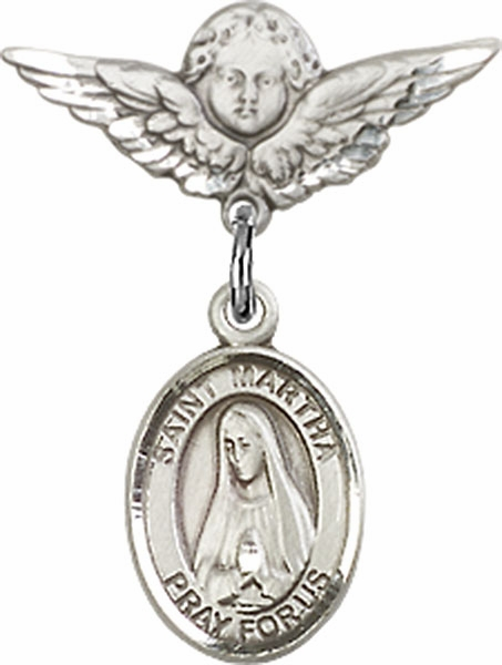 Polished Angel Wings Pin Baby Badge with St Martha Charm