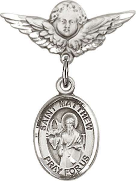 Polished Angel Wings Pin Baby Badge with St Matthew the Apostle Charm