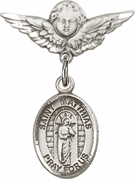 Polished Angel Wings Pin Baby Badge with St Matthias the Apostle Charm