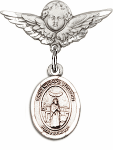 Bliss Bliss Polished Angel Wings Pin Baby Badge w/ St Medard of Noyon Charm