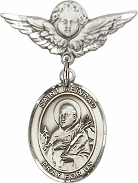 Bliss Polished Angel Wings Pin Baby Badge w/ St Meinrad of Einsideln Charm