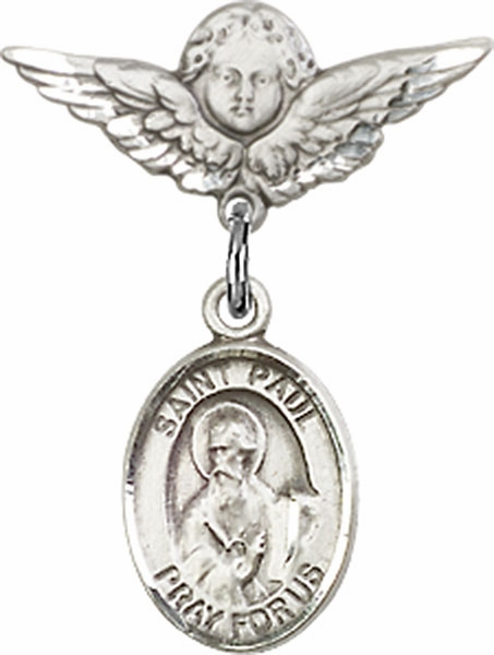 Polished Angel Wings Pin Baby Badge with St Paul the Apostle Charm