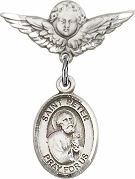 Polished Angel Wings Pin Baby Badge with St Peter the Apostle Charm