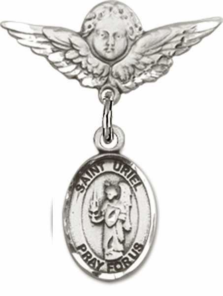 Polished Angel Wings Pin Baby Badge with St Uriel the Archangel Charm