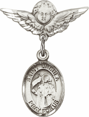 Polished Angel Wings Pin Baby Badge with St Ursula Charm