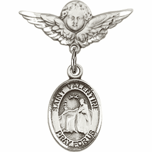 Polished Angel Wings Pin Baby Badge with St Valentine of Rome Charm