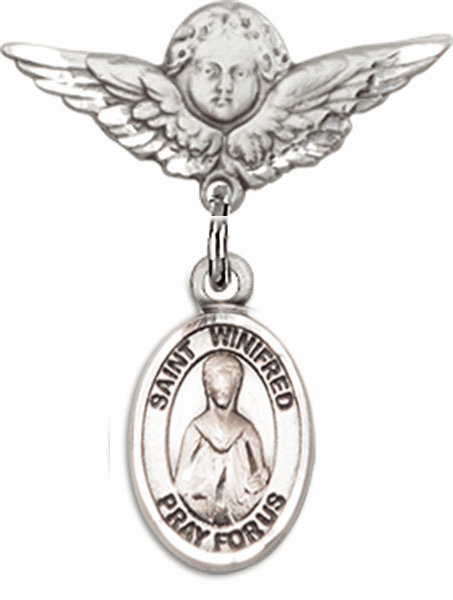 Polished Angel Wings Pin Baby Badge with St Winifred of Wales Charm