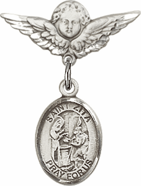 Polished Angel Wings Pin Baby Badge with St Zita Charm
