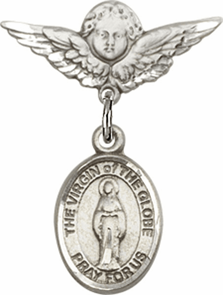 Polished Angel Wings Pin Baby Badge with Virgin of the Globe Charm