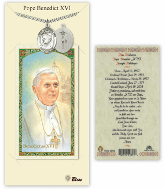 Bliss Mfg Pope Emeritace Benedict XVI Pendant and Holy Prayer Card Gift Set