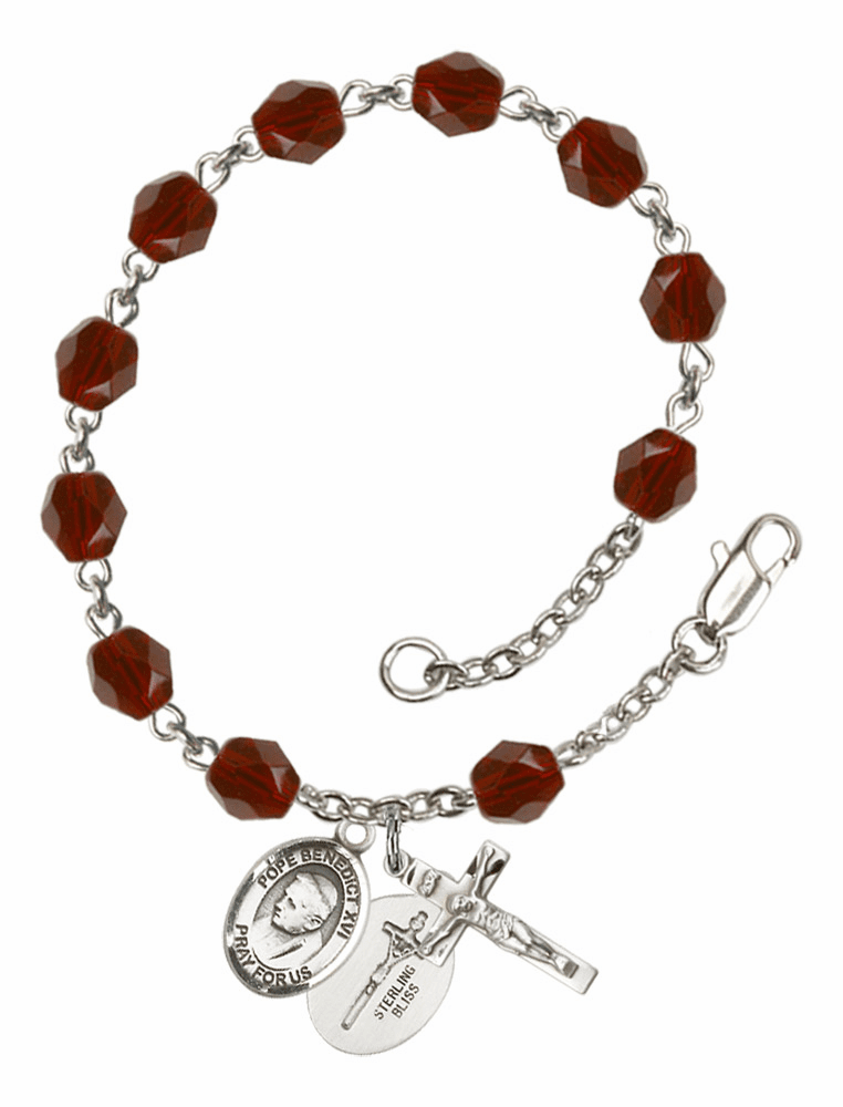 Pope Emeritace Benedict XVI Silver Plate Birthstone Rosary Bracelet by Bliss