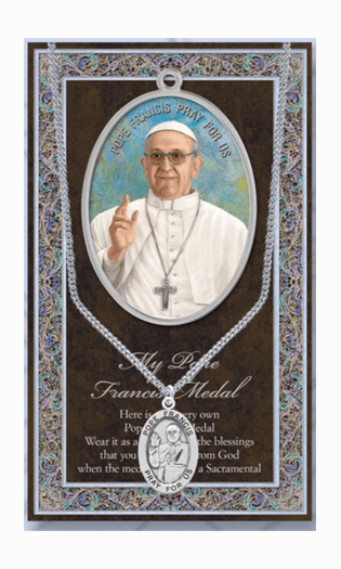 Pope Francis Pewter Patron Saint Medal Necklace with Prayer Pamphlet by Hirten