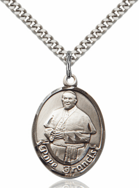 Pope Francis Pewter Patron Saint Necklace by Bliss
