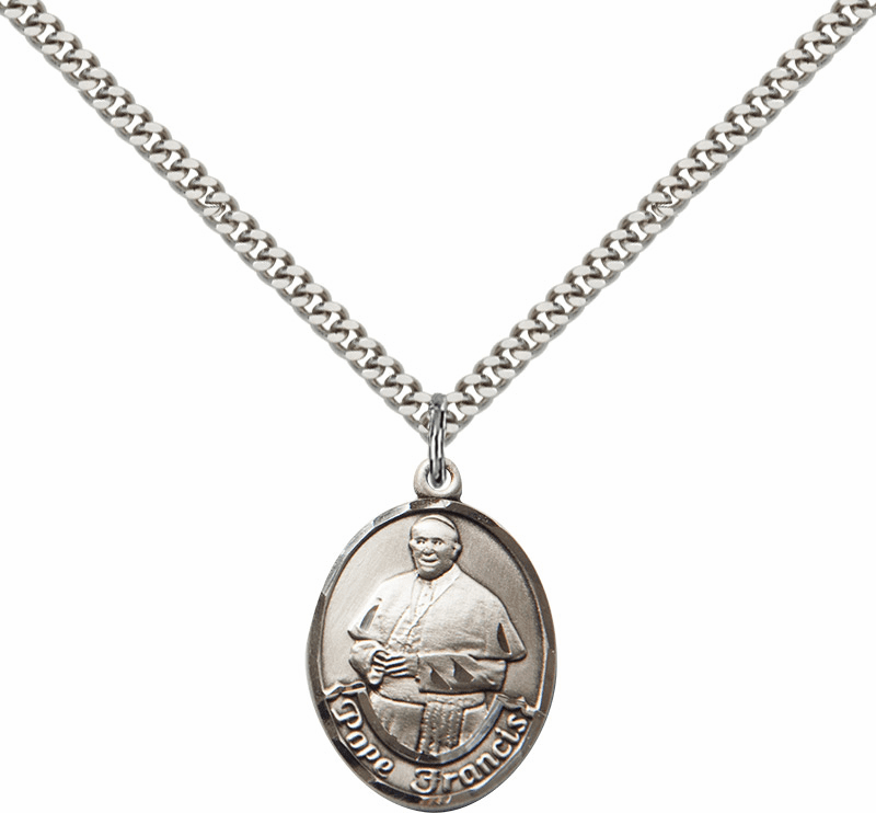 Pope Francis Sterling Silver Medal Necklace by Bliss