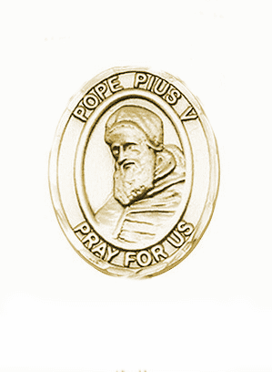 Pope Pius V 14kt Gold Patron Saint Pendant Medal by Bliss