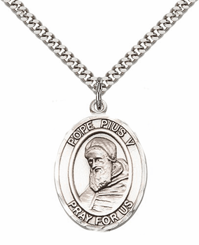 Pope Pius V Pewter Patron Saint Necklace by Bliss