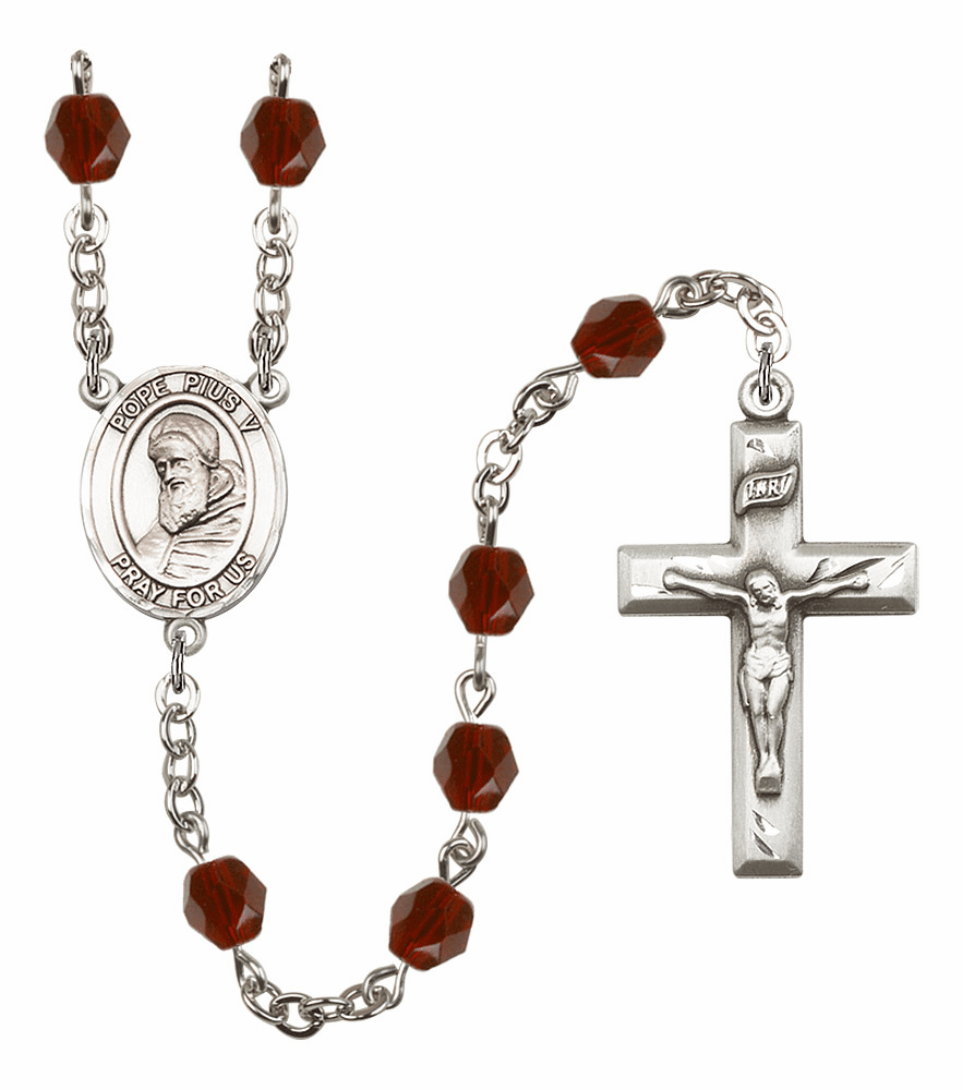 Pope Pius V Birthstone Crystal Prayer Rosary by Bliss - More Colors
