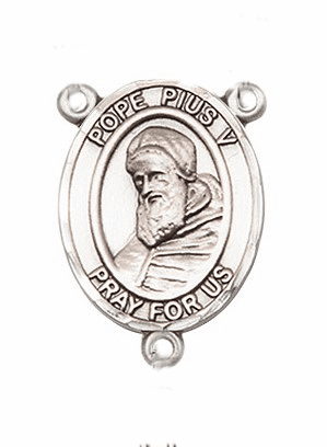 Pope Pius V Sterling Silver Saint Rosary Center by Bliss