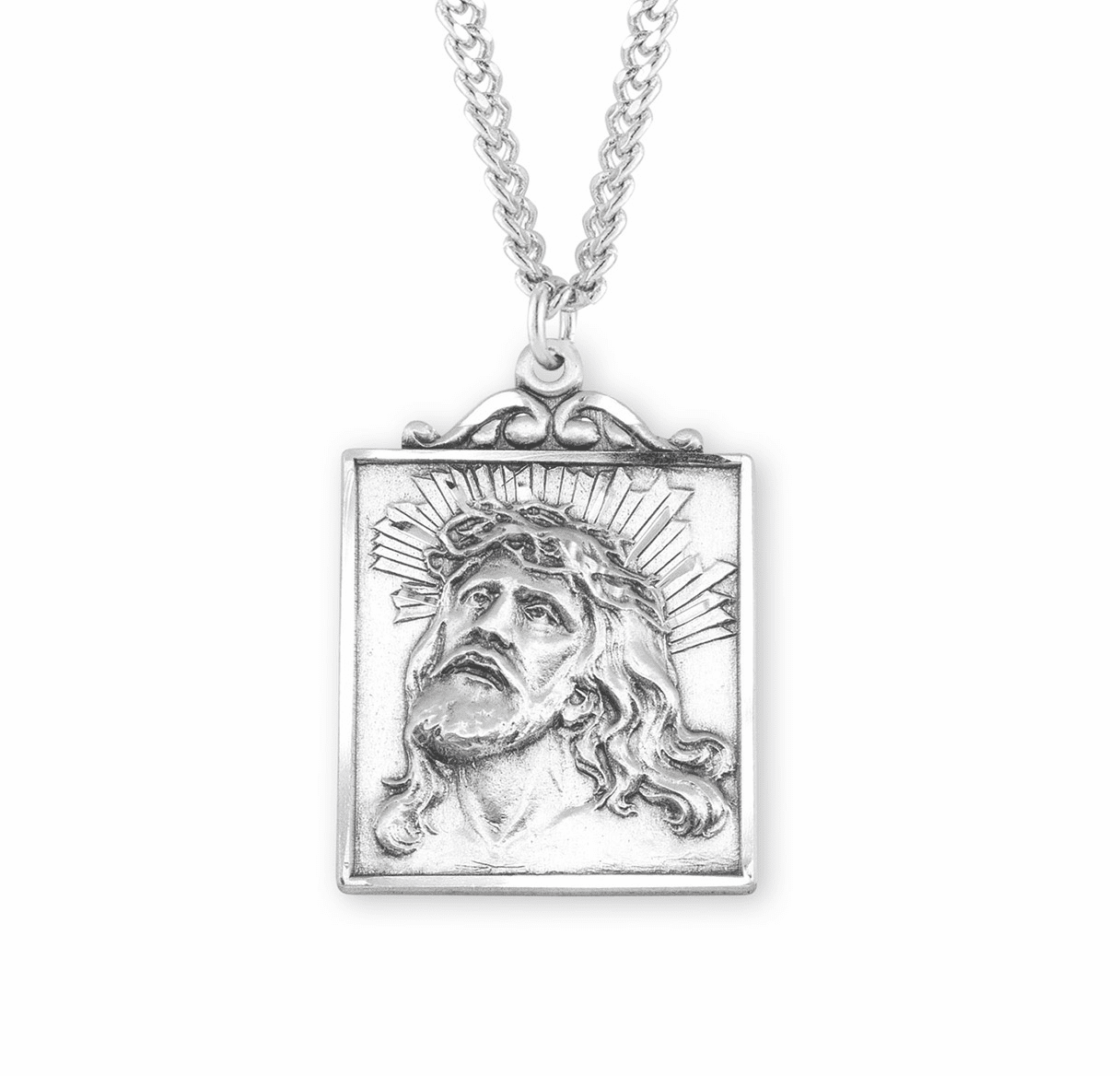 Portrait of Jesus w/Crown of Thorns Sterling Necklace by HMH Religious
