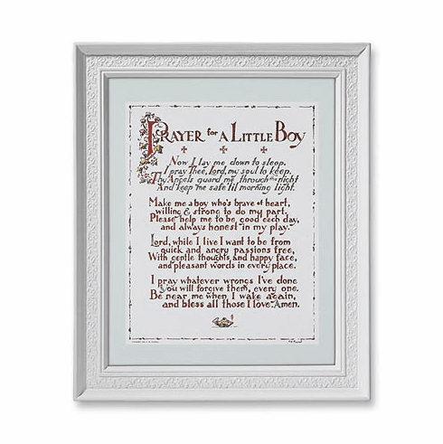 Prayer for a Little Boy White Finished Frame Religious Picture by Gerffert