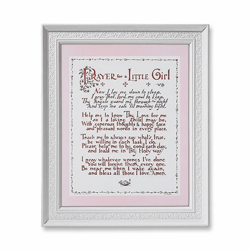 Prayer for a Little Girl with White Finished Frame Religious Picture by Gerffert
