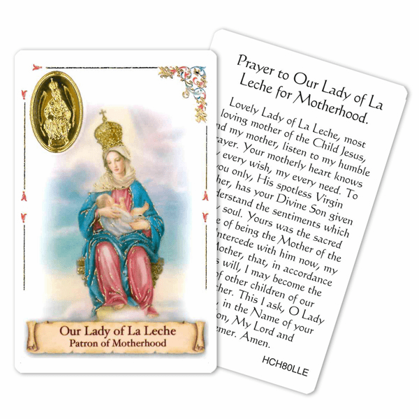 Prayer to Our Lady of La Leche for Motherhood Laminated Holy Card by Cromo