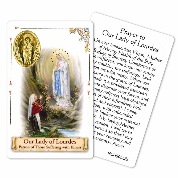 Prayer to Our Lady of Lourdes for Those Suffering with Illness Holy Card by Cromo