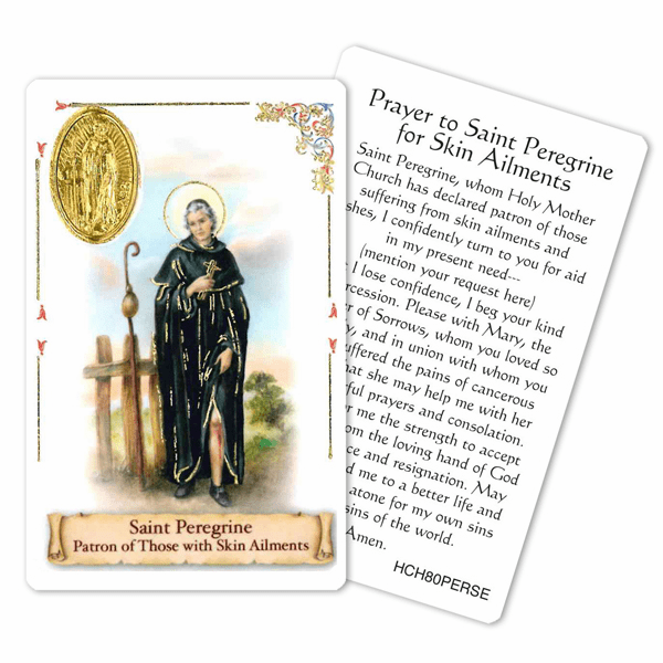 Prayer to Peregrine for Skin Aliments Laminated Holy Card by Cromo