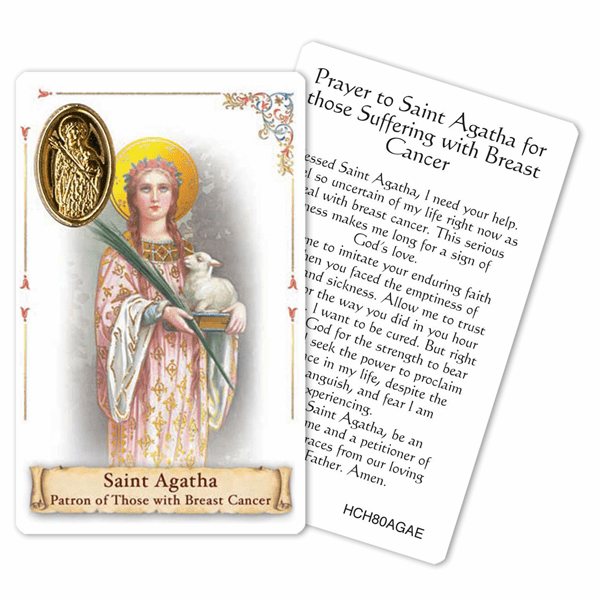 Prayer to St Agatha for Breast Cancer Laminated Holy Card by Cromo
