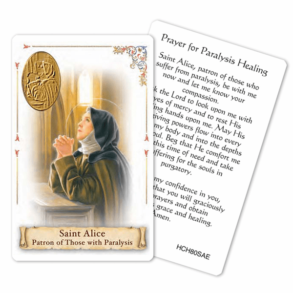 Prayer to St Alice for Paralysis Healing Laminated Holy Card by Cromo