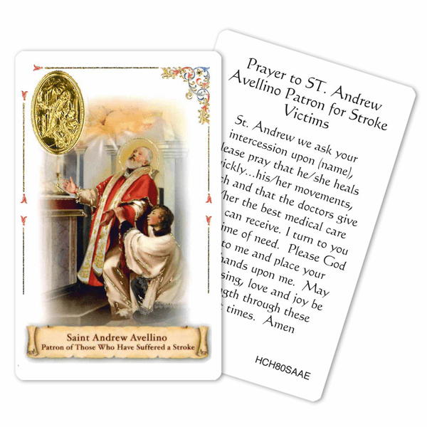 Prayer to St Andrew Avellino Patron for Stroke Victims Holy Card by Cromo