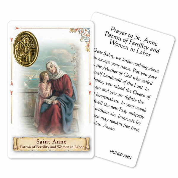 Prayer to St Anne for Fertility Women in Labor Laminated Holy Card by Cromo