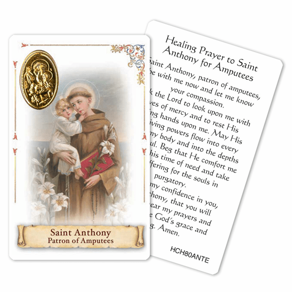 Prayer to St Anthony for Amputees Laminated Holy Card by Cromo