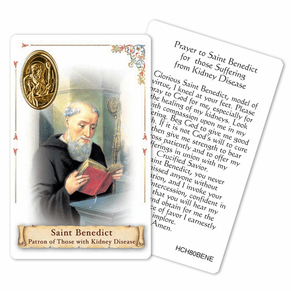Prayer to St Benedict for Those with Kidney Disease Holy Card by Cromo