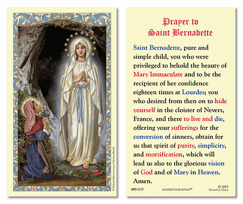 Prayer to St Bernadette Laminated Gerffert 25pkg Holy Cards