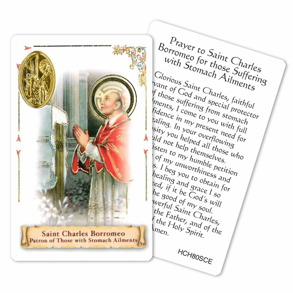 Prayer to St Charles for those Suffering Stomach Ailments Holy Card by Cromo