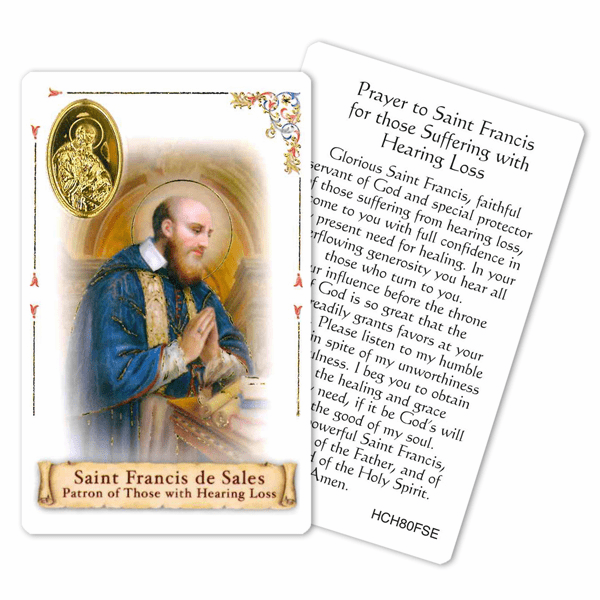 Prayer to St Francis de Sales for Hearing Loss Holy Card by Cromo