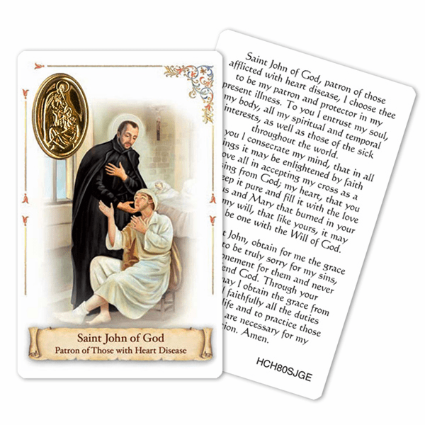 Prayer to St John of God for those Suffering Heart Disease Holy Card by Cromo