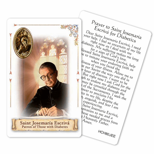 Prayer to St Josemaria Escriva for Those with Diabetes Holy Card by Cromo