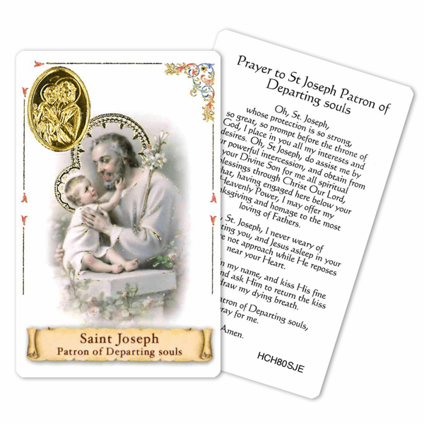 Prayer to St Joseph Patron of Departing Souls Laminated Holy Card by Cromo
