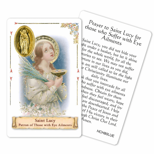 Prayer to St Lucy for those with Eye Ailments Laminated Holy Card by Cromo