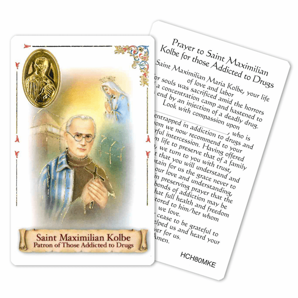 Prayer to St Maximilian Kolbe for those Addicted to Drugs Holy Card by Cromo