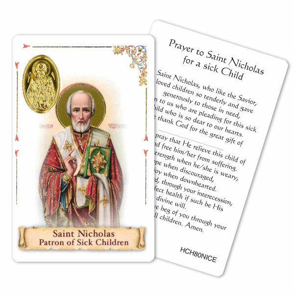 Prayer to St Nicholas for a Sick Child Laminated Holy Card by Cromo